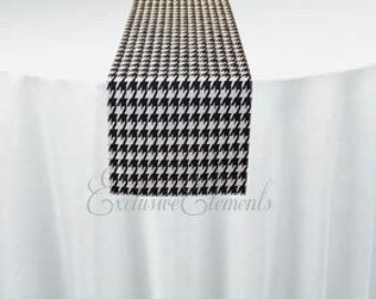 Black and White Houndstooth Table Runner Wedding Linens Table Centerpiece Retro Vintage Patterned Runner Party Decor