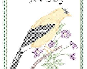 New Jersey State Bird, Flower and Motto Cross Stitch Pattern PDF