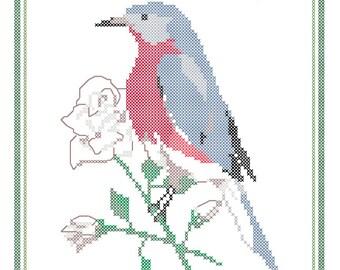 New York State Bird, Flower and Motto Cross Stitch Pattern PDF