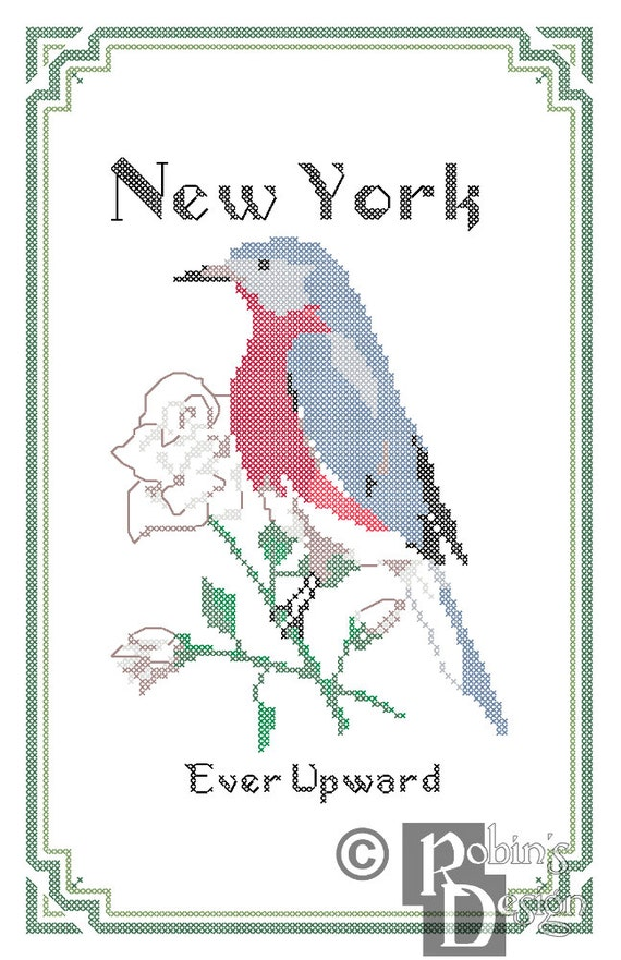 New York State Bird, Flower and Motto Cross Stitch Pattern PDF