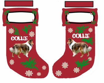 Collie Cut and Sew Christmas stocking