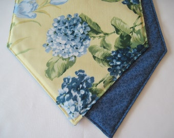 "Blue Hydrangea Table Runner 54"" Reversible  Yellow Table runner Shabby Chic Table Runner Yellow Table Runner Soft Blue Table Runner"