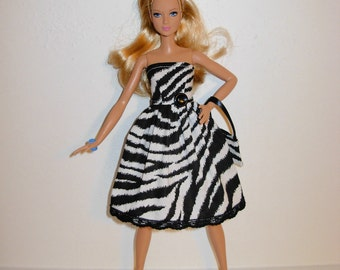 Handmade barbie clothes, CUTE dress and bag for new barbie tall doll