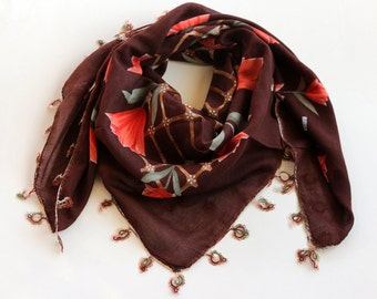Brown Boho Scarf, Tatting Lace Trim, Soft Muslin Scarf, Orange Tulip Printed Scarf, Boho Scarf, Authentic Scarf, Cheesecloth, Bandana OOAK