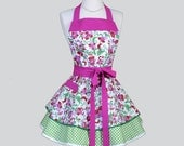 Ruffled Retro Aprons - Cute Full Flirty Vintage Womens Apron Pink Floral with Green Polka Dots Kitchen Cooking Womans Apron Personalize
