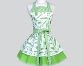 Ruffled Retro Aprons - Cute Full Vintage Kitchen Cooking Womans Apron Utensils Green Swirls Flirty Polka Dot Womens Aprons Personalize