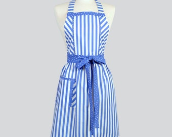Full Bib Womens Aprons / Retro Kitchen Cooking Apron in Vintage Periwinkle Blue Stripes Handmade Hostess Cute Chef Womans Apron