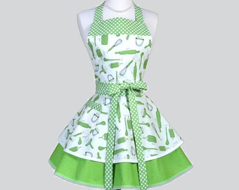 Ruffled Retro Aprons - Cute Full Vintage Kitchen Cooking Womans Apron Utensils Green Swirls Flirty Polka Dot Womens Aprons Personalize