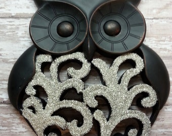 SALE Black Owl Wall Hanging / Silver Glitter Owl / Wall Decor / Sparkles like diamonds / High End / Ready to Ship (refbrd)
