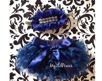 BLOOMER and HEADBAND Set. Navy Blue Ruffle Bum Baby Bloomer, Baby girl Headbands , ruffle Diaper Cover, newborn bloomers, baby girl bloomers