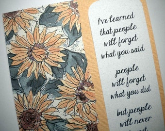 Maya Angelou bookmark on handmade greeting card ~ PEOPLE WON'T FORGET