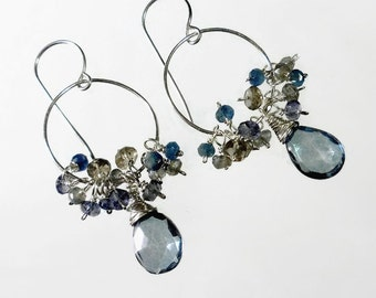 Blue Chandelier Earring, Blue Gemstone Earrings, Blue Hoop Earrings, Sterling Silver