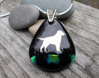 Labrador Retriever Fused Glass and Silver Pendant