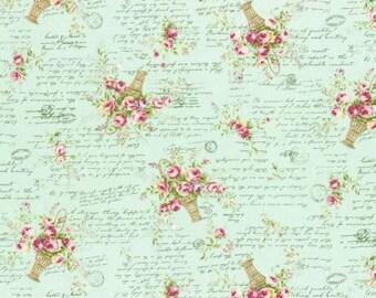 Rococo Sweet 2016   Rose Baskets on Aqua Cotton Fabric Lecien 31363-60