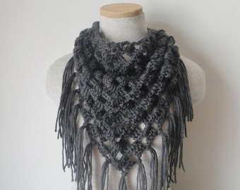 Crochet Triangle Fringe Scarf Shawl Neckwarmer in Charcoal