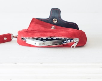 Wristlet wallet red suede leather, womens phone wallet phone case zipper wallet clutch wallet - Thalia Wallet