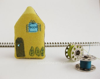 Tiny house BROOCH lemon yellow with turquoise blue and olive green