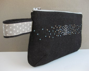 Wool CLUTCH in black with steel blue and warm grey embroidery
