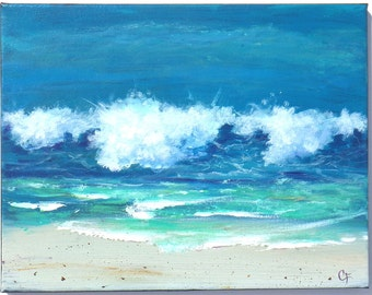 Big ocean wave close to shoreline, beach waves and white foam 11x14 inch painting, oil and acrylic paint beach decor