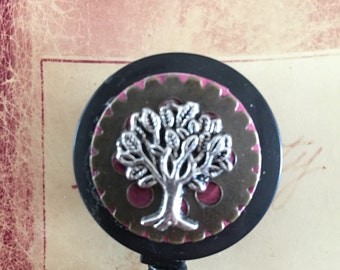 Steampunk Tree ID Retractable Badge Holder