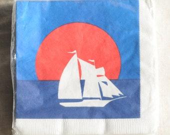 sailboat nautical paper napkins, vintage