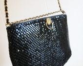 Vintage 80's Black Metal Mesh Chain Mail Handbag