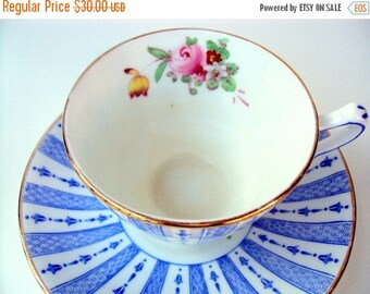 VALENTINES SALE Vintage Crown Straffordshire Footed Cup and Saucer,Bone China,England, 1930s, Blue White Stripe Panels with Pink Rose Floral