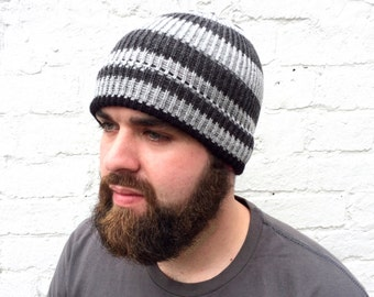 Men's knit beanie, grey winter hat, warm hat, men's accessory.