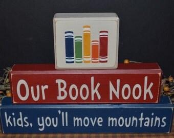 Our Book Nook primitive wood blocks sign