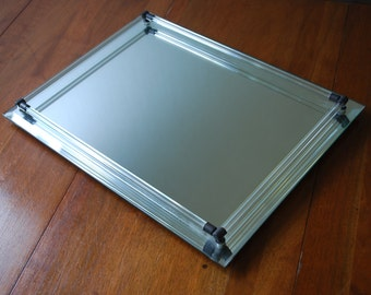 Mid Century Large Rectangular Mirrored Vanity Tray - Glass Tubes - Goldtone Accents - Art Deco