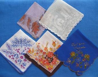 50 % Off Sale 5 Novelty Fabric Hankies Handkerchiefs 1920s-1940s Painted Art Silk Mesh Souvenir