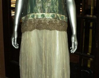 "Edwardian 1910""s  Lace Skirt Wearable Size Original Wedding Summer Historical Boho Antique Bridal Collectible Teens Era"