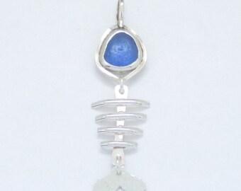Sea Glass Jewelry - Sterling Cornflower Blue English Sea Glass Fishbone Pendant