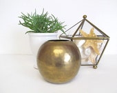 Vintage Brass Orb Vase, Hammered Brass Ball Vase, Geometric Metal Vessel , Boho