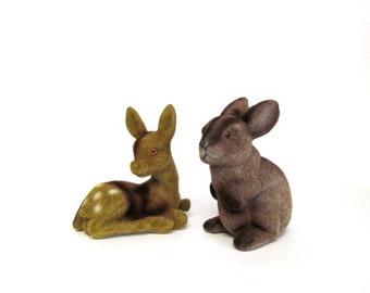 Vintage Flocked Deer and Bunny Bank, Forest Friends, Nursery Child Room Decor