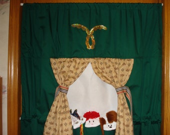 Complete set Doorway Puppet Theater with 3 Sock Puppets;  Dragon, Boy with red hair , and his Puppy