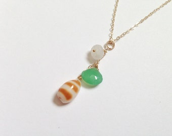 FREE SHIPPING Beach Trio Necklace - Gold Fill (Style 3916)