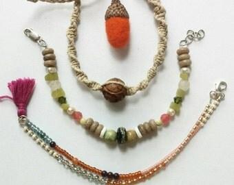 Petoskey Stone Bracelet Trio with an acorn gift topper- READY TO SHIP