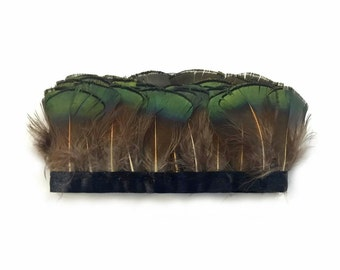 1 Yard - Iridescent Green Bronze Golden Pheasant Tippet Feather Trim : 4114