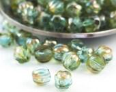 30 - 5mm Aquamarine Celsian Melon Beads - Corrugated Czech Glass Rounds