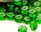 30 - 6mm X 3mm Fire Polished Rondelle Green Emerald Czech Glass Beads - 100% Guarantee