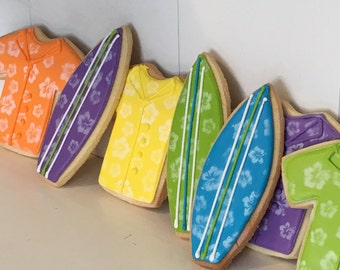 Hawiian shirt surfboards hand decorated sugar cookies - 12 cookies