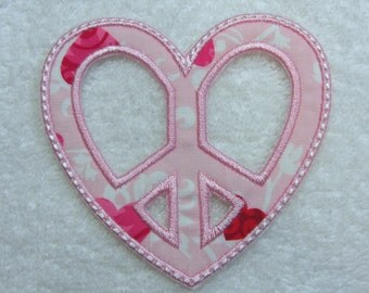 Heart Peace Sign Fabric Embroidered Iron On Applique Patch Ready to Ship