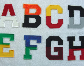 3-1/2 Inch Split Two Color College/Varsity Letter/Monogram Fabric Embroidered Iron On Applique Patch MADE TO ORDER