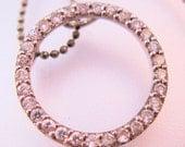 10K White Topaz Eternity Circle Pendant & 18K RGP Chain Necklace Vintage Jewelry Jewellery