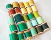 SALE - 26 Spools of Thread, wooden spools and a few plastic, green, gold, yellow