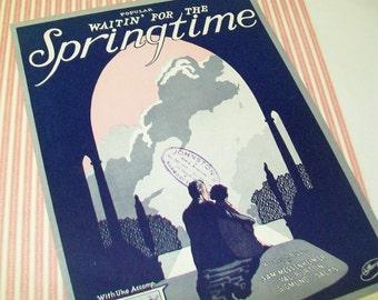 SALE - Waitin' For The Springtime Sheet Music, 1920s, 1927