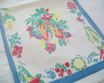 Linen Kitchen Towel, 1950s, Vintage, hand towel