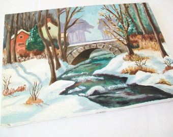 SALE - Hand Painted Vintage Oil Painting, Winter Scene, 1971