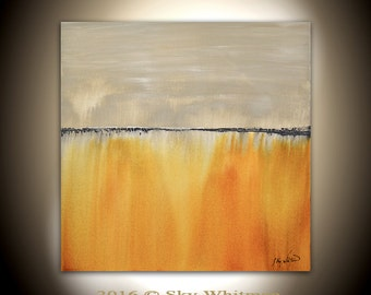 Original Large Abstract Contemporary Acrylic Painting Amber 30 x 30 Raw Wall Art Decor by Sky Whitman